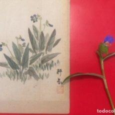 Arte: TSUYUKUSA TO CHOCHO, COMMELINA COMMUNIS Y MARIPOSA, ACUARELA SOBRE SEDA, 26X18.8CM, FIRMADO. Lote 278302838
