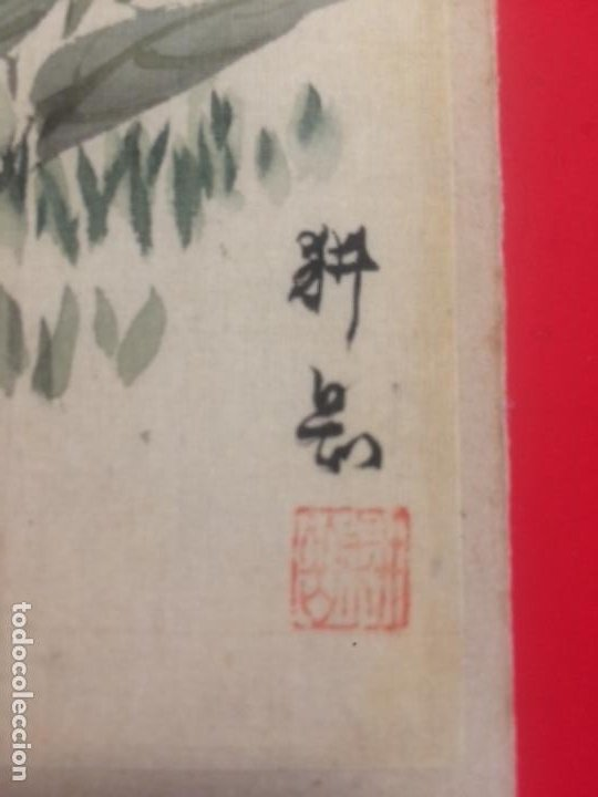 Arte: tsuyukusa to chocho, Commelina communis y mariposa, acuarela sobre seda, 26x18.8cm, firmado - Foto 2 - 278302838