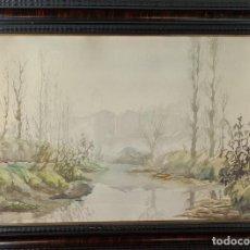 Arte: PAISAJE CON RIO. FERNANDO LLEONART. ACUARELA SOBRE PAPEL. 1947.. Lote 278319688