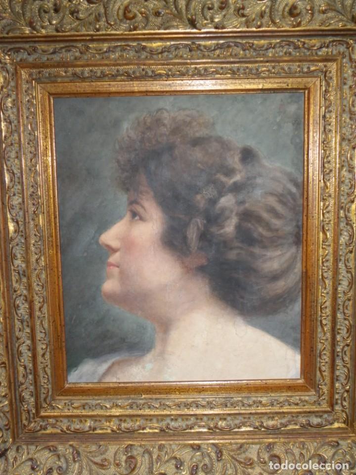 ACUARELA RETRATO DE MUJER S-XIX (Arte - Acuarelas - Modernas siglo XIX)