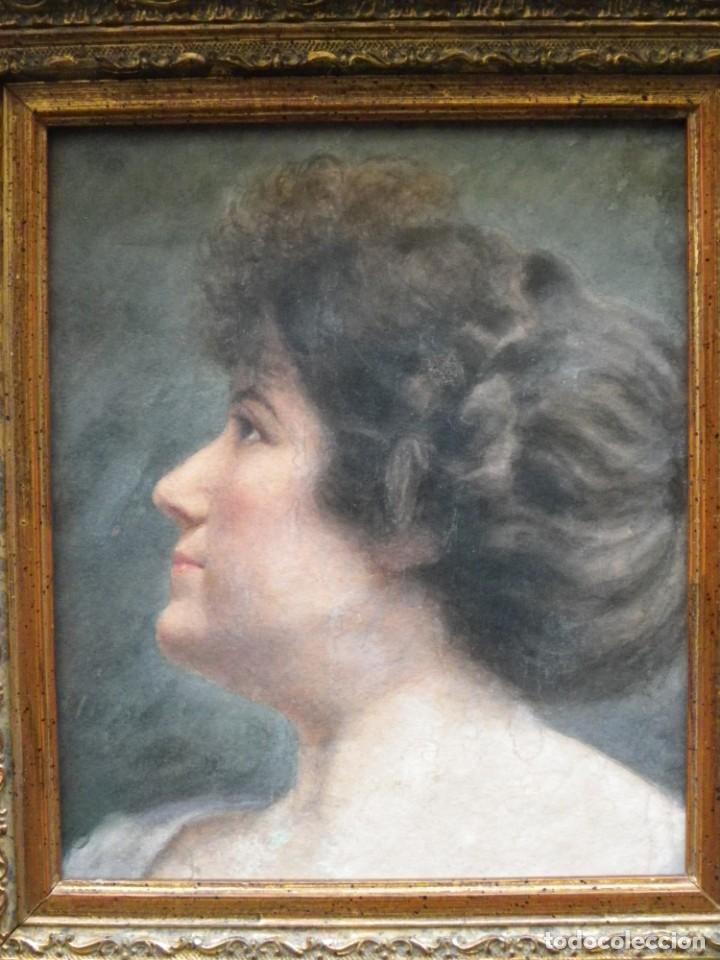 Arte: Acuarela retrato de mujer S-XIX - Foto 4 - 278410153