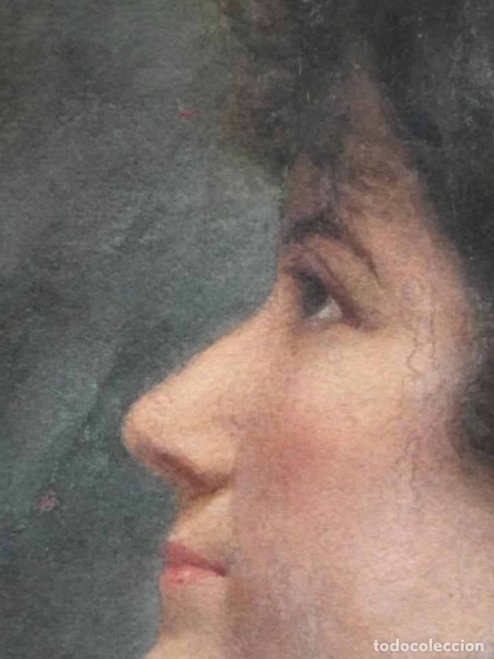 Arte: Acuarela retrato de mujer S-XIX - Foto 10 - 278410153