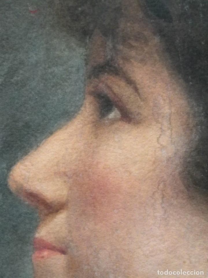 Arte: Acuarela retrato de mujer S-XIX - Foto 11 - 278410153