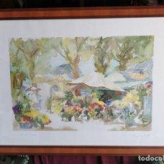 """Arte: ACUARELA """"LE JARDIN DE SOPHIE"""". PIERRE JEAN LLADÓ. AÑOS 80. Lote 278692223"""
