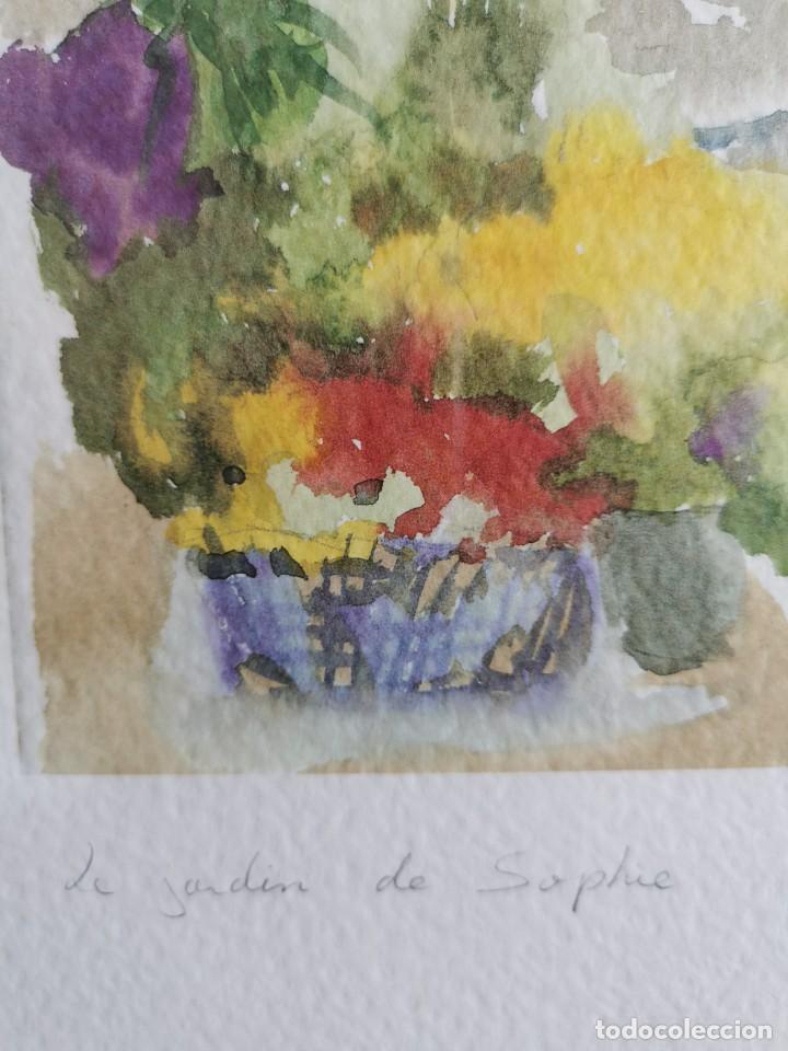 """Arte: Acuarela """"le jardin de Sophie"""". Pierre Jean Lladó. Años 80 - Foto 2 - 278692223"""