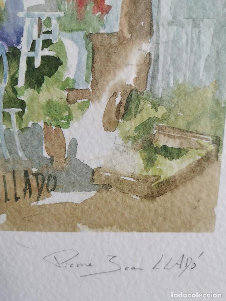 """Arte: Acuarela """"le jardin de Sophie"""". Pierre Jean Lladó. Años 80 - Foto 3 - 278692223"""