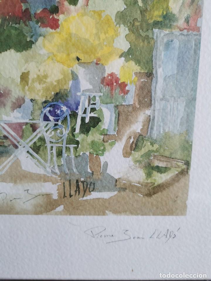 """Arte: Acuarela """"le jardin de Sophie"""". Pierre Jean Lladó. Años 80 - Foto 4 - 278692223"""