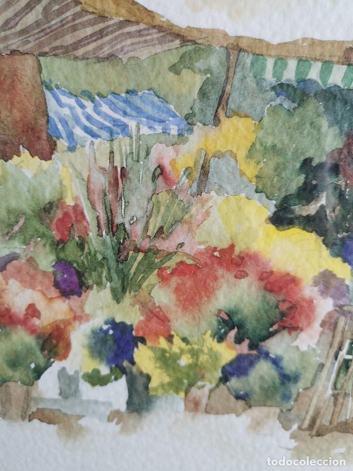 """Arte: Acuarela """"le jardin de Sophie"""". Pierre Jean Lladó. Años 80 - Foto 5 - 278692223"""