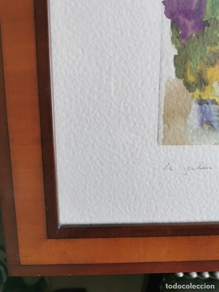 """Arte: Acuarela """"le jardin de Sophie"""". Pierre Jean Lladó. Años 80 - Foto 8 - 278692223"""