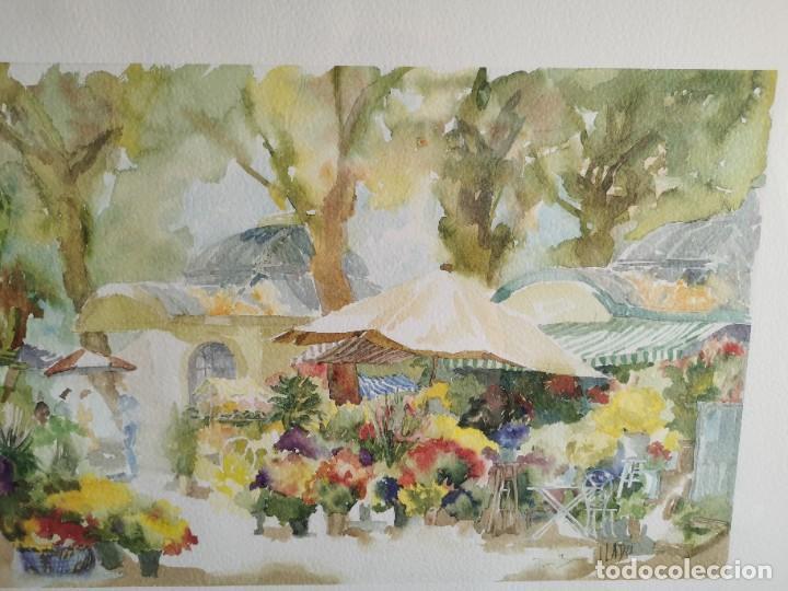 """Arte: Acuarela """"le jardin de Sophie"""". Pierre Jean Lladó. Años 80 - Foto 9 - 278692223"""