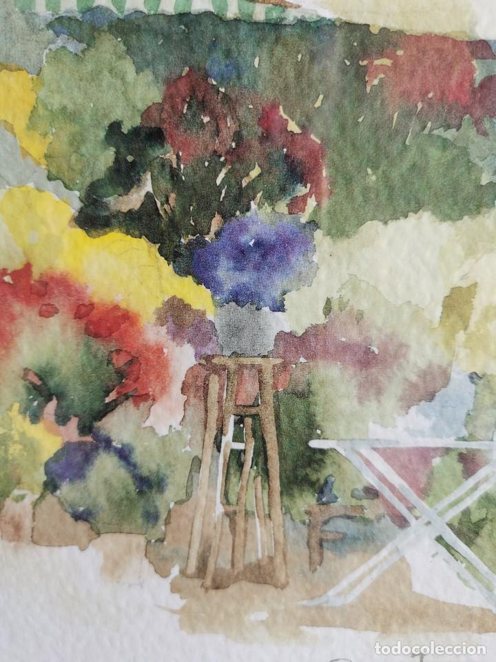 """Arte: Acuarela """"le jardin de Sophie"""". Pierre Jean Lladó. Años 80 - Foto 10 - 278692223"""