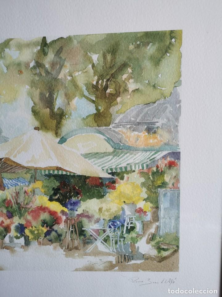 """Arte: Acuarela """"le jardin de Sophie"""". Pierre Jean Lladó. Años 80 - Foto 11 - 278692223"""