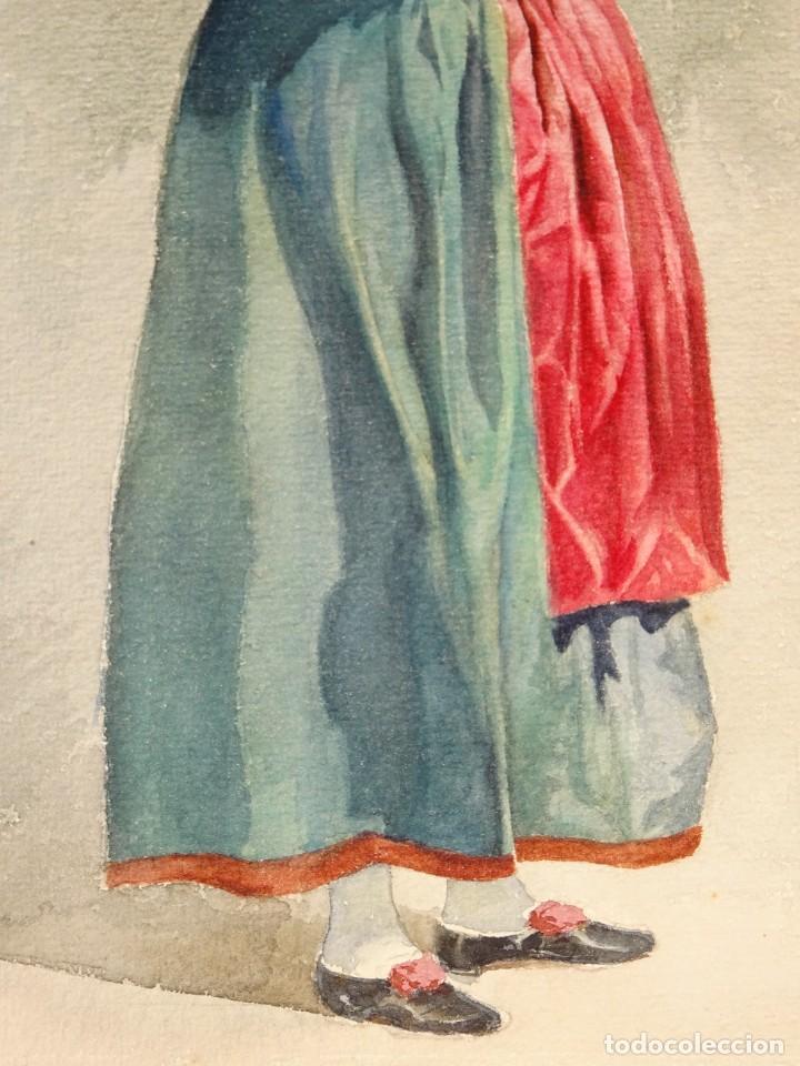 Arte: ACUARELA ANTIGUA S.XX - MUJER CON PAÑUELO EN LA CABEZA, 47X29 CM. SEÑALES DE USO NORMALES - Foto 5 - 279512013