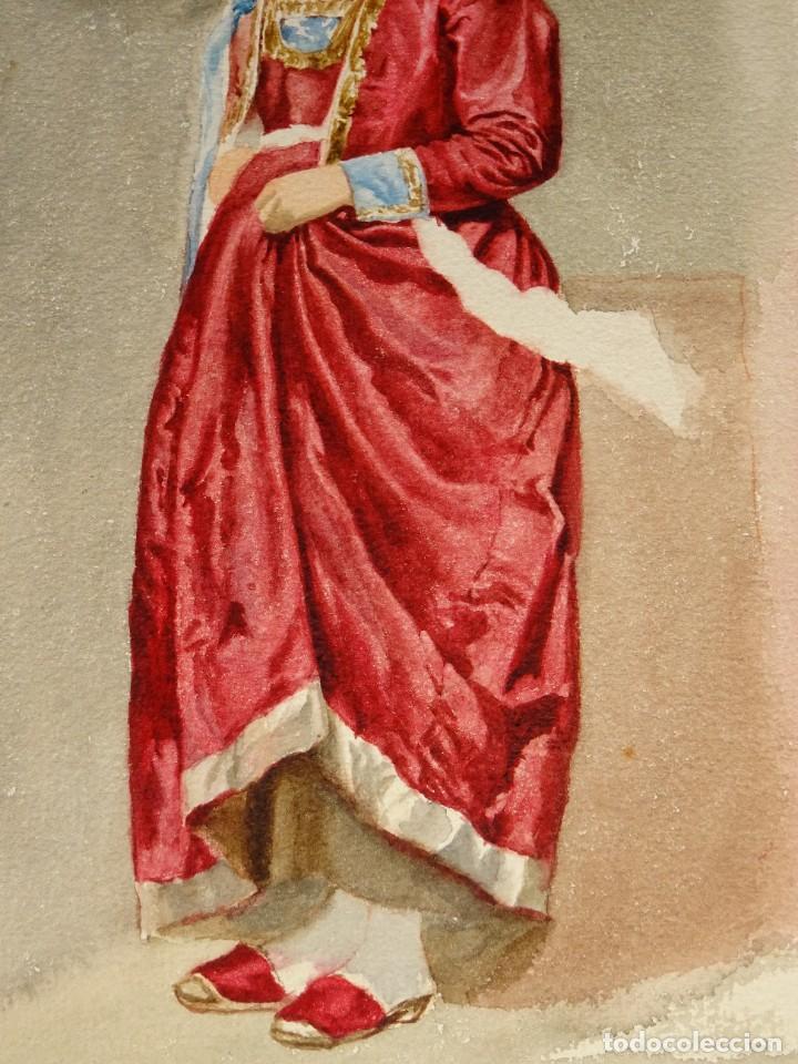 Arte: ACUARELA ORIGINAL SIN FIRMAR S.XX -MUJER CON PAÑUELO, 38X26,5 CM. SEÑALES DE USO NORMALES - Foto 2 - 279512323