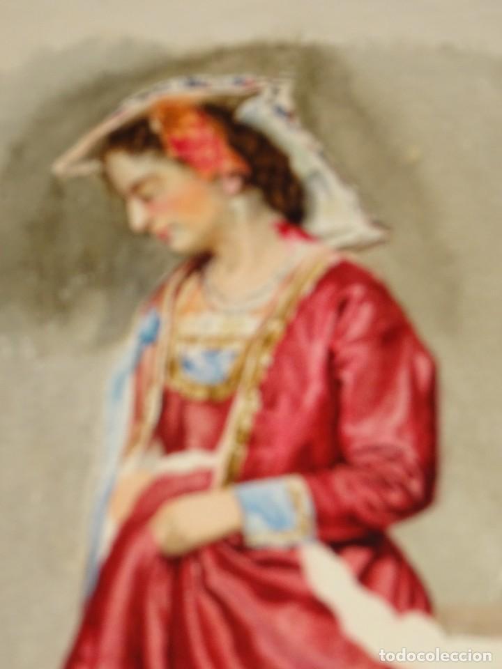 Arte: ACUARELA ORIGINAL SIN FIRMAR S.XX -MUJER CON PAÑUELO, 38X26,5 CM. SEÑALES DE USO NORMALES - Foto 3 - 279512323