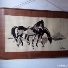 Arte: JOSÉ MIGUEL SERRANO. OBRA AGUADA Y TINTADA, ENMARCADA DE LA ÉPOCA (1940).. Lote 279569773
