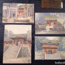 Arte: ESCUELA JAPONESA SIGLO XIX/XX. TEMPLOS JAPONESES.. Lote 279570323