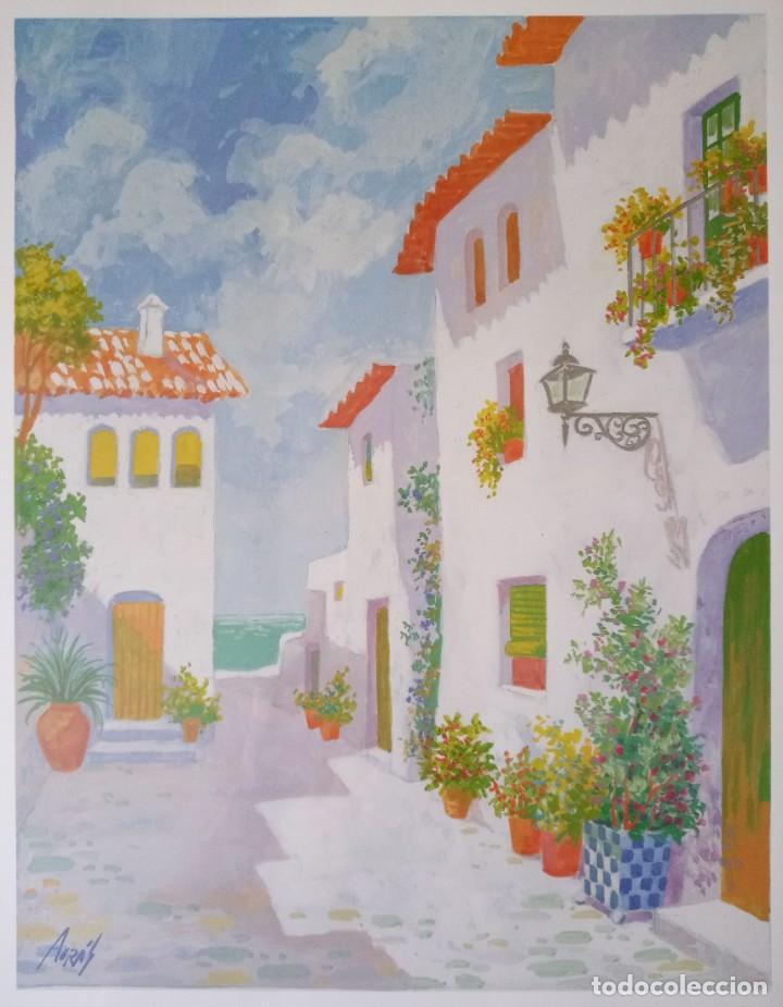 Arte: Lámina reproducción acuarela paisaje pueblo andaluz firmada Agrás - Foto 2 - 281050498