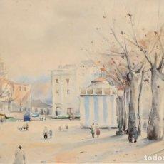 Arte: JAUME ROCA DELPECH (SALT, 1911 - GIRONA, 1968) ACUARELA SOBRE PAPEL. VISTA URBANA. Lote 281966178