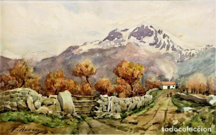 F. ANDRADA 1917 - 1998 PAISAJE CON PERSONAS (Arte - Acuarelas - Contemporáneas siglo XX)