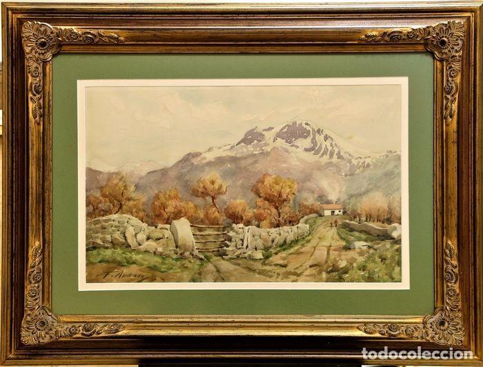 Arte: F. ANDRADA 1917 - 1998 PAISAJE CON PERSONAS - Foto 2 - 285162678