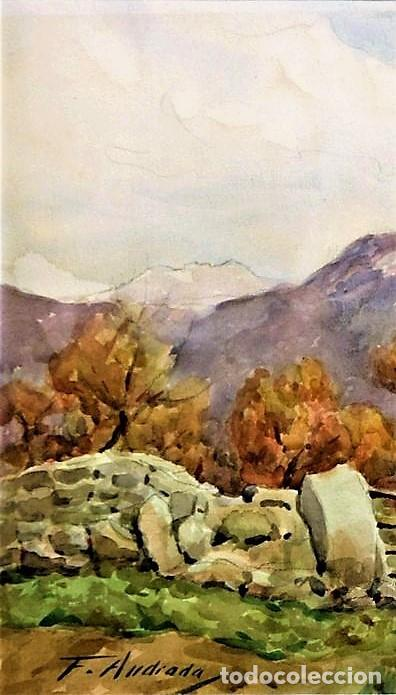 Arte: F. ANDRADA 1917 - 1998 PAISAJE CON PERSONAS - Foto 4 - 285162678