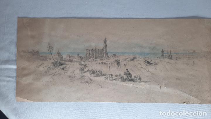 MALAGA 1852 ORIGINAL DE VOYAGE PITTORESQUE EN ESPAGNE DIBUJO (Arte - Acuarelas - Modernas siglo XIX)
