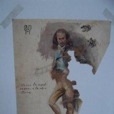 Arte: FANTASTICA ACUARELA PERSONAJE DE ALTA EPOCA. Lote 285971868