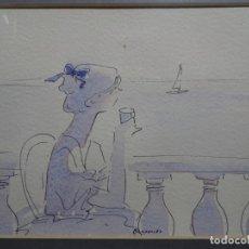 Arte: ACUARELA DE FIRMA ILEGIBLE AÑO 82. TONOS SUAVES. BIEN ENMARCADA. MUY ELEGANTE.. Lote 287042763