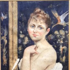 Arte: ~FEDERICO CORCHON Y DIAQUE. (1853-1925)~ RETRATO DE UNA DAMA. ACURELA FIRMADA ~ F. DIAQUE~SG XIX. Lote 287627608