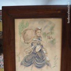 Arte: JOSÉ LUIS FLORIT RODERO(1909-2000).ACUARELA-GUACHE Y PLUMILLA SOBRE PAPEL.1941.MARCO ISABELINO CAOBA. Lote 287946263