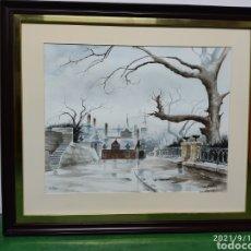 Arte: ACUARELA DE JAMES WELLMAN ( SUBIDA AL PALACIO DE MIRAMAR) SAN SEBASTIAN. Lote 287991528