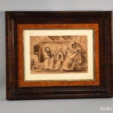Arte: INTERIOR. AGUADA SOBRE PAPEL. FIRMADA Y FECHADA (1862). LUCAS VELÁZQUEZ, EUGENIO.. Lote 288467853