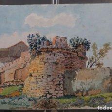 Arte: ACUARELA SOBRE PAPEL VISTA VILANOVA I LA GELTRÚ FIRMADO M.AGUILAR. Lote 288553893