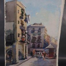 Arte: ACUARELA SOBRE PAPEL VISTA CALLE DE BARCELONA FIRMADO M.AGUILAR. Lote 288554163