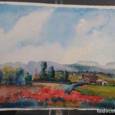Arte: ACUARELA SOBRE PAPEL PAISAJE MANLLEU FIRMADO M.AGUILAR. Lote 288554243
