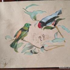 Arte: PRECIOSA ACUARELA S XIX PAJARITOS. Lote 288742458