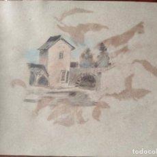 Arte: PRECIOSA ACUARELA S XIX CASERIO. Lote 288742538