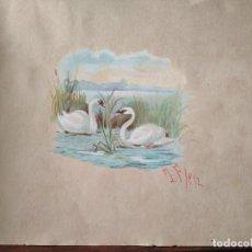 Arte: PRECIOSA ACUARELA S XIX LAGO DE CISNES FIRMADO. Lote 288742843