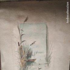 Arte: PRECIOSA ACUARELA S XIX LAGO Y NATURALEZA MATORRALES Y AVES. Lote 288742913
