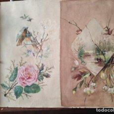 Arte: PRECIOSA ACUARELA S XIX LAGO Y NATURALEZA MATORRALES Y AVES PINTADA AMBAS CARAS. Lote 288742993