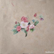Arte: PRECIOSA ACUARELA S XIX FLORES. Lote 288743018