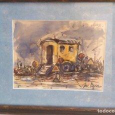 """Art: ACUARELA DEL PINTOR JOSÉ LUCAS, TÍTULO """"EL CARRO DE OBRAS"""". Lote 289535393"""