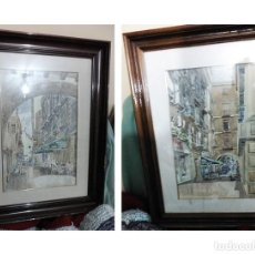 Arte: 2 ANTIGUAS ACUARELAS ALICANTE PASAJE PORTICO DE ANSALDO RINCON GALLEGO ANONIMO ¿PETEN?. Lote 289574998