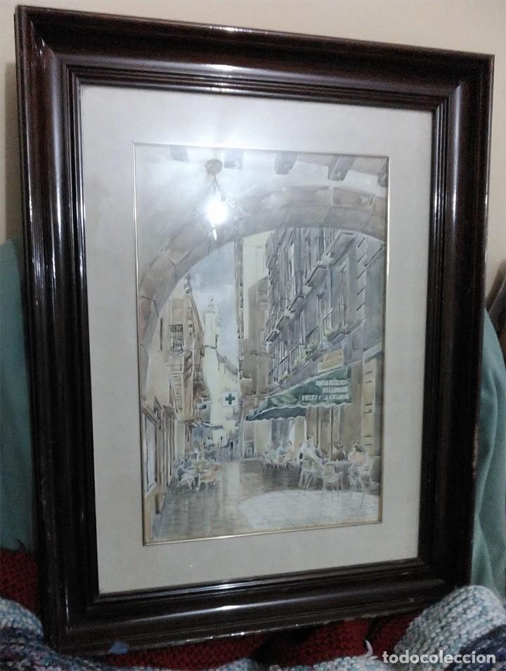Arte: 2 ANTIGUAS ACUARELAS ALICANTE PASAJE PORTICO DE ANSALDO RINCON GALLEGO ANONIMO ¿PETEN? - Foto 2 - 289574998