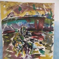 Arte: FIRMADO PERGA. ACUARELA TAURINA, TAUROMAQUIA. 45X32CM. Lote 289847438