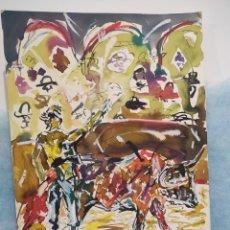 Arte: FIRMADO PERGA. ACUARELA TAURINA, TAUROMAQUIA. 45X32CM. Lote 289847603