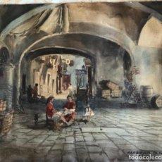 Arte: CEFERINO OLIVÉ (REUS 1907 - REUS 1995) ACUARELA SOBRE PAPEL TITULADA PÓRTICOS RIUDOMS TARRAGONA 1961. Lote 290065343