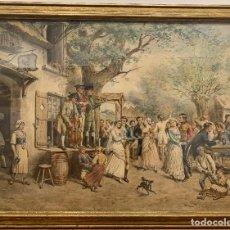 Arte: GUSTAVE DAVID (1824-1891). BAILE DE BODA. ACUARELA, 66 X 89 CM.. Lote 293742438