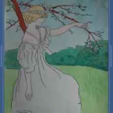 Arte: J. DALMAU.(MANRESA, 1867-BARCELONA, 1937) ACUARELA SOBRE PAPEL. 35,5 CM X 30,4 CM. JOVEN MODERNISTA.. Lote 293982378